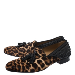Christian Louboutin Leopard Print Pony Hair And Black Leather Spiked Tassilo Loafers Size 42.5