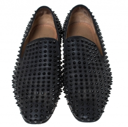 Christian Louboutin Black Leather Roller Boy Spiked Loafers Size 43