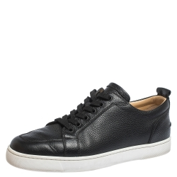 Christian Louboutin Black Leather Rantulow Low Top Sneakers Size 43