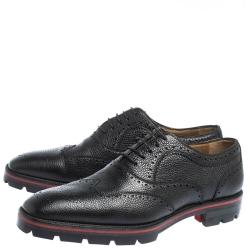 حذاء أكسفورد كريستيان لوبوتان شارلي مي جلد بروغي أسود مقاس 43