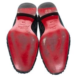 Christian Louboutin Blue Brocade Velvet Dandelion Loafers Size 42.5