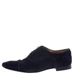 حذاء أوكسفورد كريستيان لوبوتان غريغو سويدي أزرق رباط أمامي مقاس 43