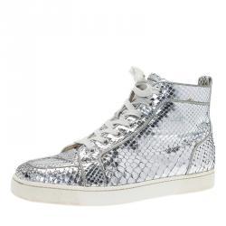 Christian Louboutin Metallic Silver Python Rantus Orlato High Top Sneakers Size 43