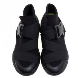 Christopher Kane Black Nylon Safety Buckle High Top Slip On Sneakers Size 42