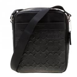 304c37706d7 Coach Black Signature Embossed Leather Flight Messenger Bag