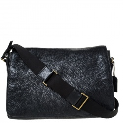 Coach Black Pebbled Leather Messenger Bag