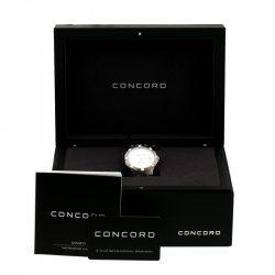 Concord Silver White Stainless Steel Saratoga 02.114.1058 Men's Wristwatch 40 mm