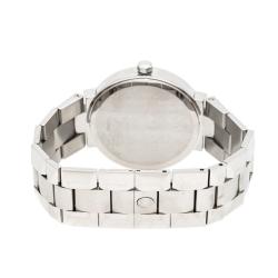 Concord Silver White Stainless Steel Diamonds La Scala 14.CZ.1891 Men's Wristwatch 38 mm
