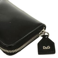 D and G Black Patent Compact Zippy Wallet