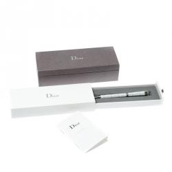 Dior White Composite Engraved Silver Tone Ballpoint Pen