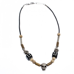 Dior Skulls & Dice Beads Black Leather Cord Necklace