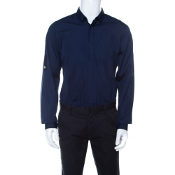 Dior Navy Blue Cotton Long Sleeve Button Front Shirt L