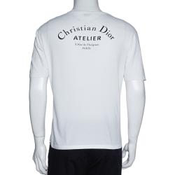 Dior Homme White Cotton Logo Print Short Sleeve T Shirt M