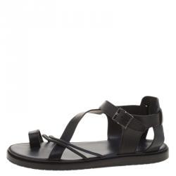 49e9e5f44b4e Dior Homme Black Leather Toe Ring Cross Strap Sandals Size 43.5