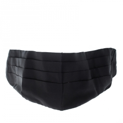 8161fc23cfb Dolce and Gabbana Black Silk Satin Pleated Cummerbund Size 56