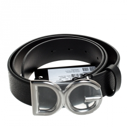 Dolce and Gabbana Black Leather DG Buckle Belt 95 cm