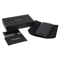 Dolce & Gabbana Black Leather Logo Plaque iPhone 7-8 Cover