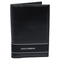 Dolce & Gabbana Black Leather Logo Stripe Detailing Card Holder