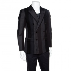 info for ab1c5 781fd Dolce and Gabbana Colorblock Striped Wool Double Breasted Blazer S
