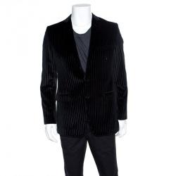 c6fd43afba29 Dolce and Gabbana Black Striped Velvet Martini Blazer M