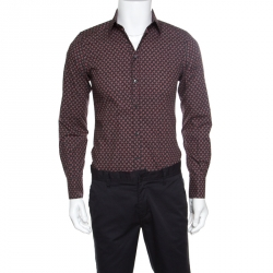 Dolce and Gabbana Gold Multicolor Geometric Printed Button Front Shirt S
