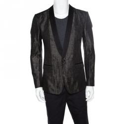 77817230ddc0 Dolce and Gabbana Gold Grey Metallic Jacquard Satin Trim Tuxedo Blazer M