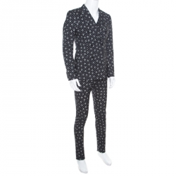 Dolce and Gabbana Black Skull Printed Wool 3 Piece Suit S