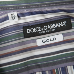 Dolce and Gabbana Gold Multicolor Striped Cotton Johnny Depp Shirt L
