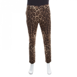 ccd6917857 Dolce and Gabbana Brown Leopard Printed Stretch Cotton Tapered Trousers L