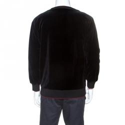 Dolce & Gabbana Black Cupid Floral Pattern Velvet Sweatshirt L