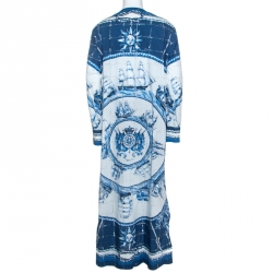 Dolce and Gabbana Blue Printed Cotton Thobe XXL