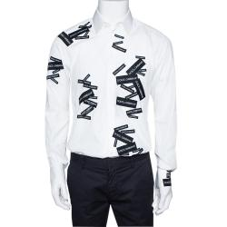 Dolce & Gabbana White Print Cotton Gold Fit Shirt IT 40