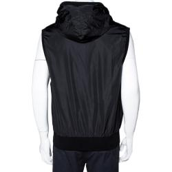 Dolce & Gabbana Black Nylon Drawstring Hooded Padded Gilet IT 58