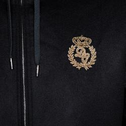 Dolce & Gabbana Black Cashmere Logo Embroidered Hooded Bomber Jacket IT 48