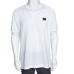 Dolce & Gabbana White Cotton Logo Plaque Crew Neck T Shirt IT 56