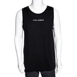 Dolce & Gabbana Black Cotton Logo Sleeveless T Shirt IT 44