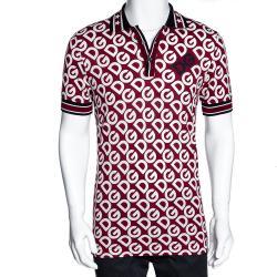 Dolce & Gabbana Bordeaux DG Mania Print Cotton Pique Polo T Shirt IT 46