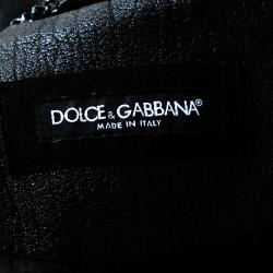 Dolce & Gabbana Black Leather Band Collar Jacket IT 50