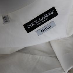 Dolce & Gabbana White Cotton Button-down Embellished Shirt IT 40