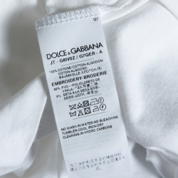Dolce & Gabbana White Cotton Sequined 'I'm The King Of My Life' T-Shirt L