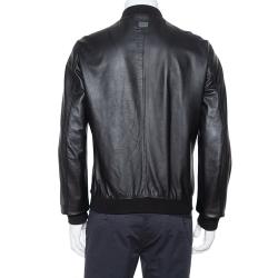 Dolce & Gabbana Black Leather Zip Front Bomber Jacket XL