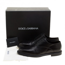 Dolce and Gabbana Black Leather Marsala Oxfords Size 44