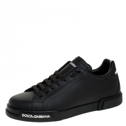 Dolce and Gabbana Black Leather Low Top Sneakers Size 45