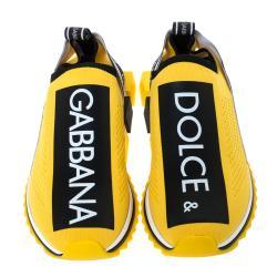 Dolce & Gabbana Yellow Stretch Jersey Logo Print Slip On Sneakers Size 39
