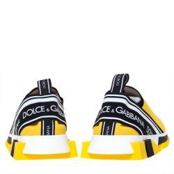 Dolce & Gabbana Yellow Stretch Jersey Logo Print Slip On Sneakers Size 40