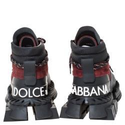 Dolce & Gabbana Burgundy Split-Grain Leather Super King High Top Sneakers Size 41