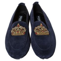 Dolce & Gabbana Dark Blue Suede Crown Embroidery Slip On Loafers Size 45