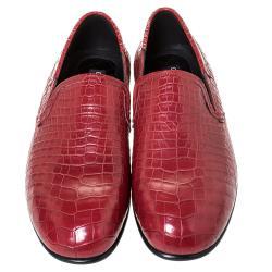 Dolce & Gabbana Red Crocodile Slip On Loafers Size 42