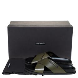 Dolce & Gabbana Green Leather Criss-Cross Slide Sandals Size 44