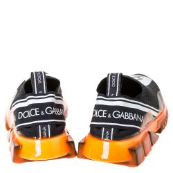 Dolce & Gabbana Black/Orange Stretch Jersey Logo Print Slip On Sneakers Size 40